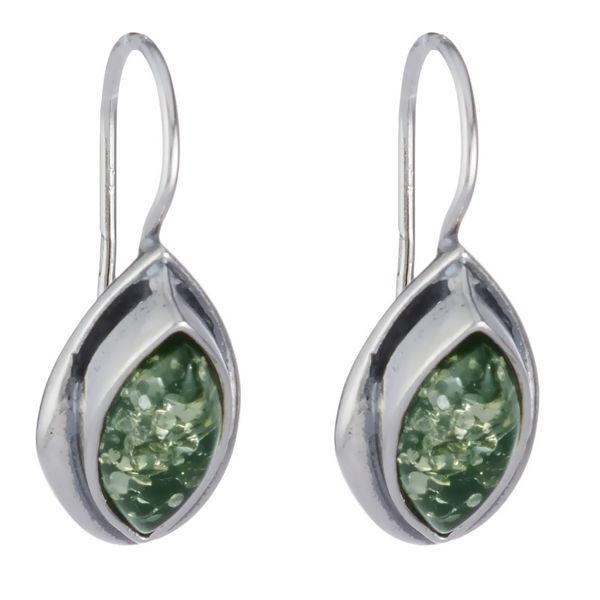 "Baltic Green Amber Earrings ""Penelope"""