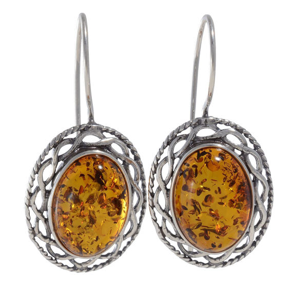 """Baltic Honey Amber Fish Hook Earrings """"Rita"""""""