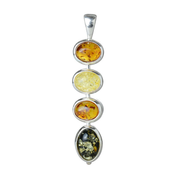"""Sterling Silver and Baltic Multicolored Amber Pendant """"Anna"""""""