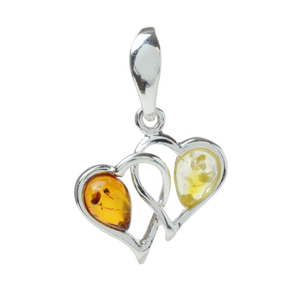 "Sterling Silver and Baltic Honey and Lemon Amber Pendant ""Hearts"""