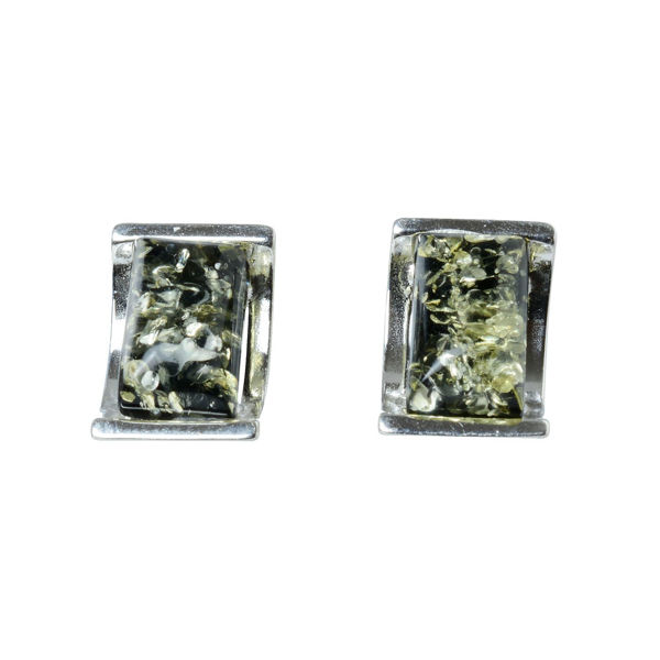 Sterling Silver and Baltic Green Amber Stud Earrings