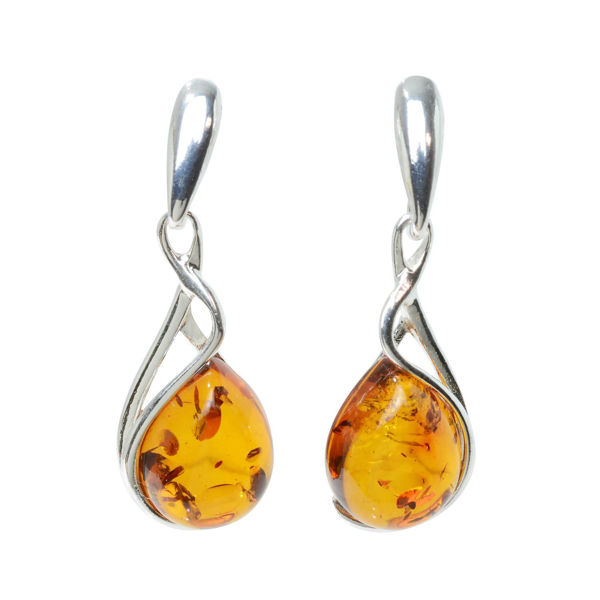 """Sterling Silver and Baltic Honey Amber Earrings """"July"""""""