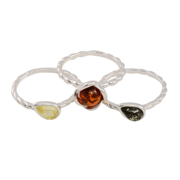 Set of Three Sterling Silver and Baltic Multicolored Amber Rings