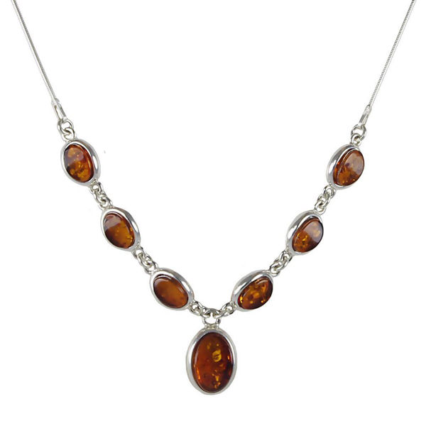 """Sterling Silver and Baltic Honey Amber Necklace """"Michelle"""""""