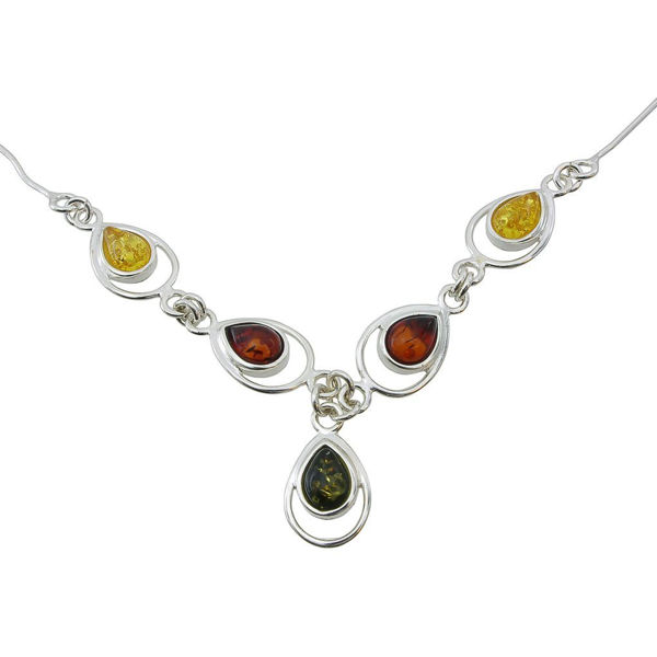 "Sterling Silver and Baltic Multicolored Amber Necklace ""Lina"""