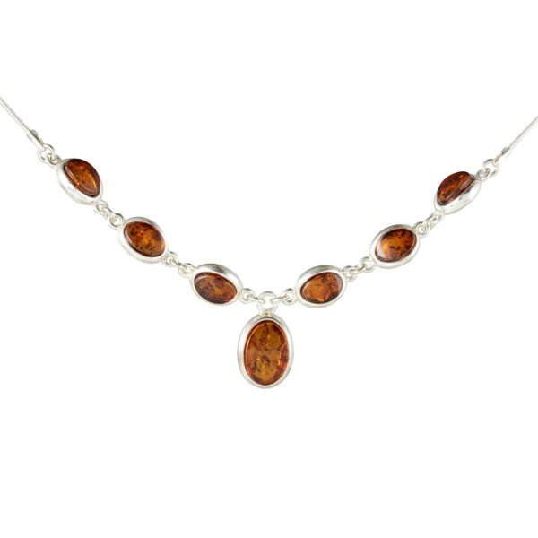 """Sterling Silver and Baltic Honey Amber Necklace """"Diane"""""""