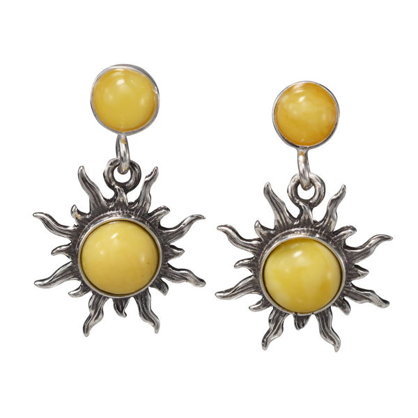 """Sterling Silver and Baltic Butterscotch Amber Earrings """"Sun"""""""