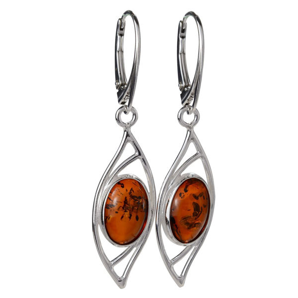 "Sterling Silver and Baltic Honey Amber French Leverback Earrings ""Autumn"""