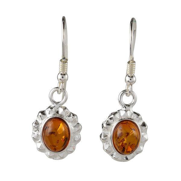 "Sterling Silver and Baltic Honey Amber Earrings ""Linda"""