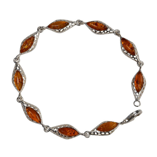 "Sterling Silver Honey Baltic Amber Bracelet ""Amaya"""