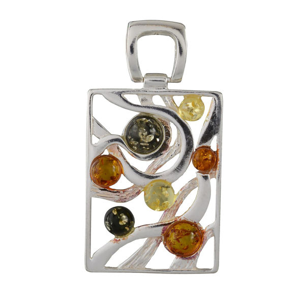 Sterling Silver and Baltic Multicolored Amber Rectangle Pendant