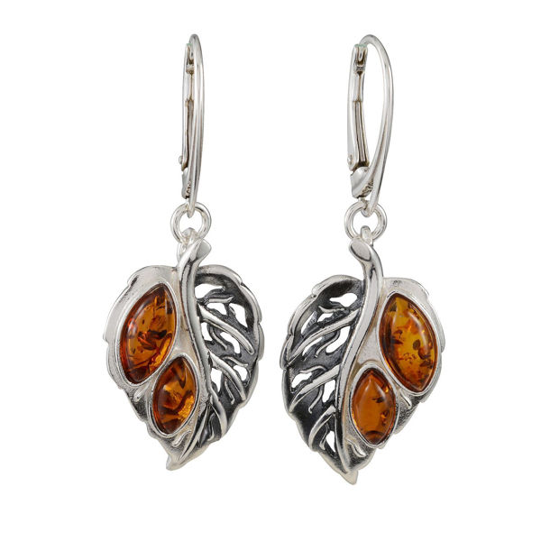 Sterling Silver and Baltic Amber French Leverback Honey Amber Leaf Earrings