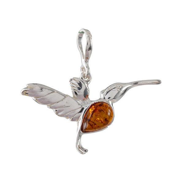 Sterling Silver Baltic Honey Amber Hummingbird Pendant
